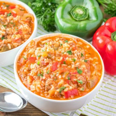 Stuffed Pepper Soup is so delicious and hearty, with only five ingredients, it makes the perfect family meal on a chilly day!