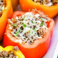 Stuffed Peppers are a timeless family favorite. They are a filling one-dish meal that comes together in less than 30 minutes and can be made ahead of time!