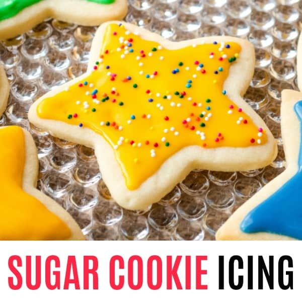 square sugar cookie icing image with text