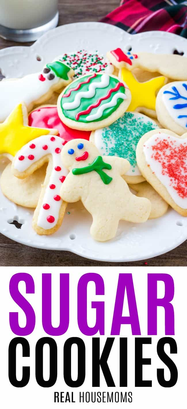 sugar cookies decorated and piled on a plate