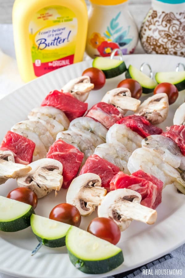 surf and turk kabobs before cooking