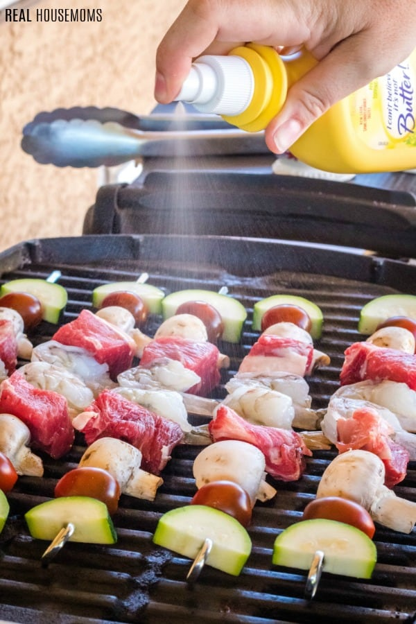 surf and turf kabobs on a grilling sprayed with I Can't Believe It's Not Butter! Original Spray