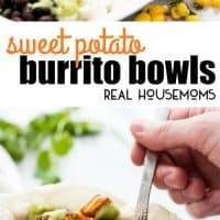 Easy and healthy sweet potato burrito bowls are full of fresh veggies and bold Tex-Mex flavors the whole family will love!