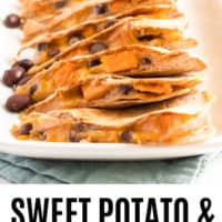 sweet potato and black bean quesadilla sliced and stacked on a serving platter
