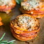 Sweet Potato Stacks make a fantastic fall side dish because the thinly sliced sweet potatoes coated in coconut oil cook up in just minutes!