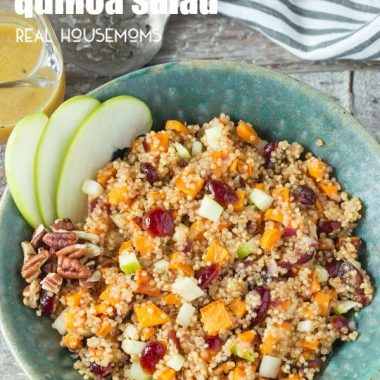 This tasty SWEET POTATO AND APPLE QUINOA SALAD is full of flavor and makes the perfect vegetarian side dish for dinner or holidays!