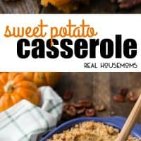 This Sweet Potato Casserole has creamy, spiced sweet potatoes topped with an irresistible pecan brown sugar streusel. It's the perfect side dish for any holiday meal!