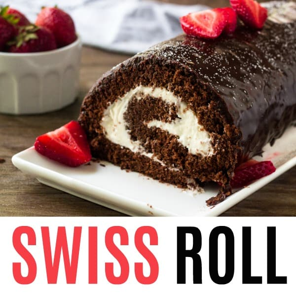 square picture of chocolate swiss roll with text