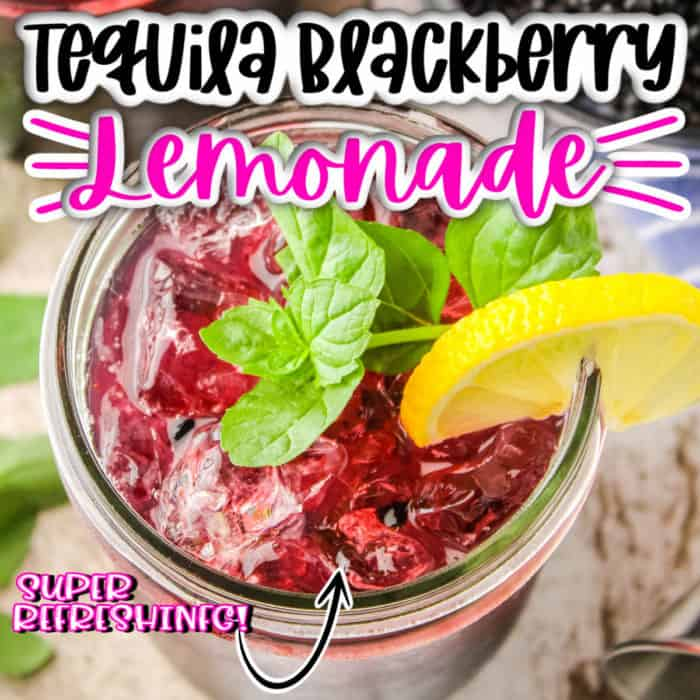 square image fo the top of a mason jar filled with Tequila Blackberry Lemonade