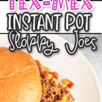 collage of Tex-Mex instant pot sloppy joes, top picture close up of sloppy joes on a spoon, bottom pic close up of sloppy joes sandwich on top of a white dish