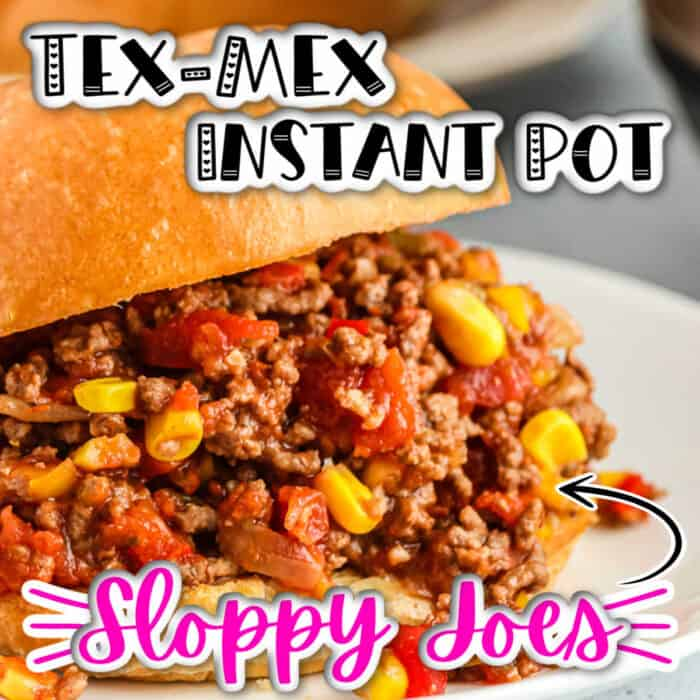square image of Tex- Mex Instant Pot Sloppy Joes on a white plate