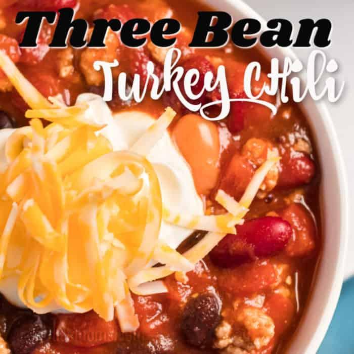 square image three bean turkey chili with writing