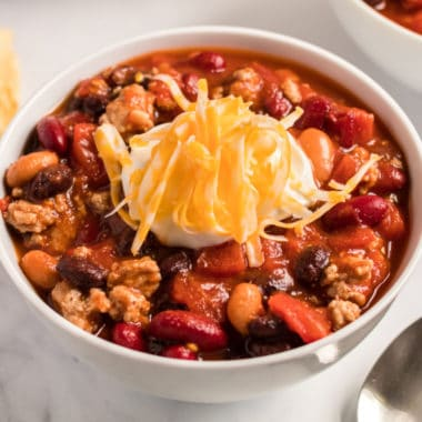 Three Bean Turkey Chili is a hearty, budget-friendly protein-packed meal!