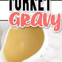 two pic collage f Turkey Gravy. top photo of close up of gravy being poured onto turkey, bottom pic of gravy boat with some turkey on a white plate on the bottom left.