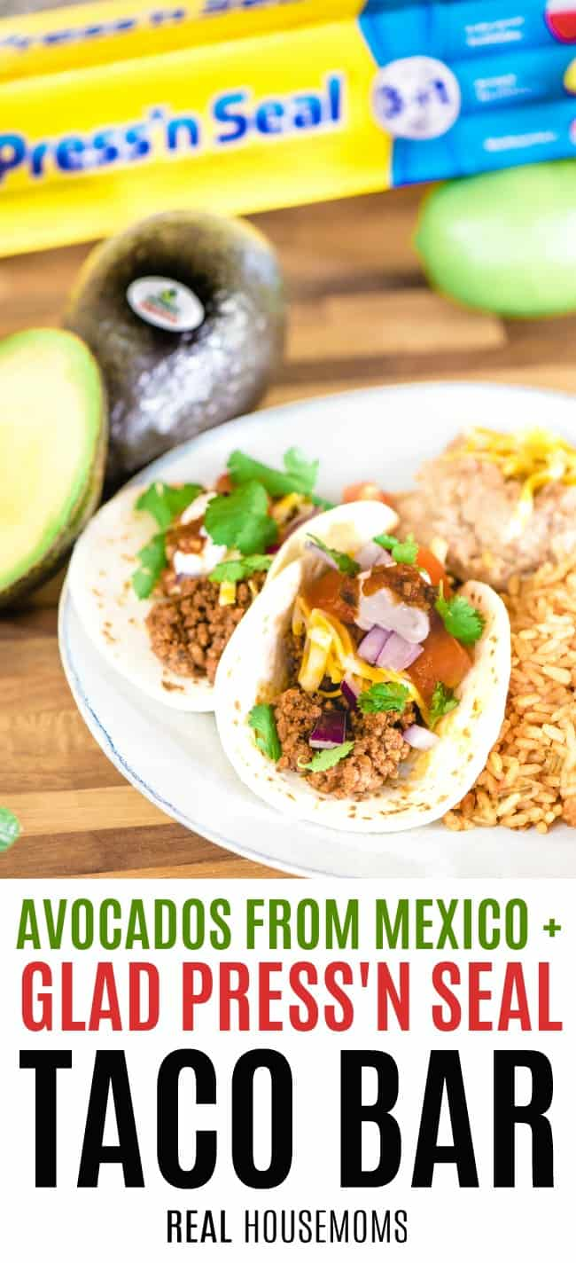 tacos with rice and beans a plate next to avocados from mexico and glad press'n seal