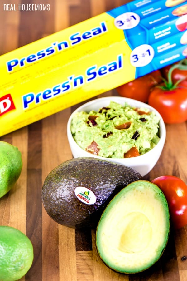 homemade guacamole with avocados from mexico and glad press'n seal to keep guac fresh