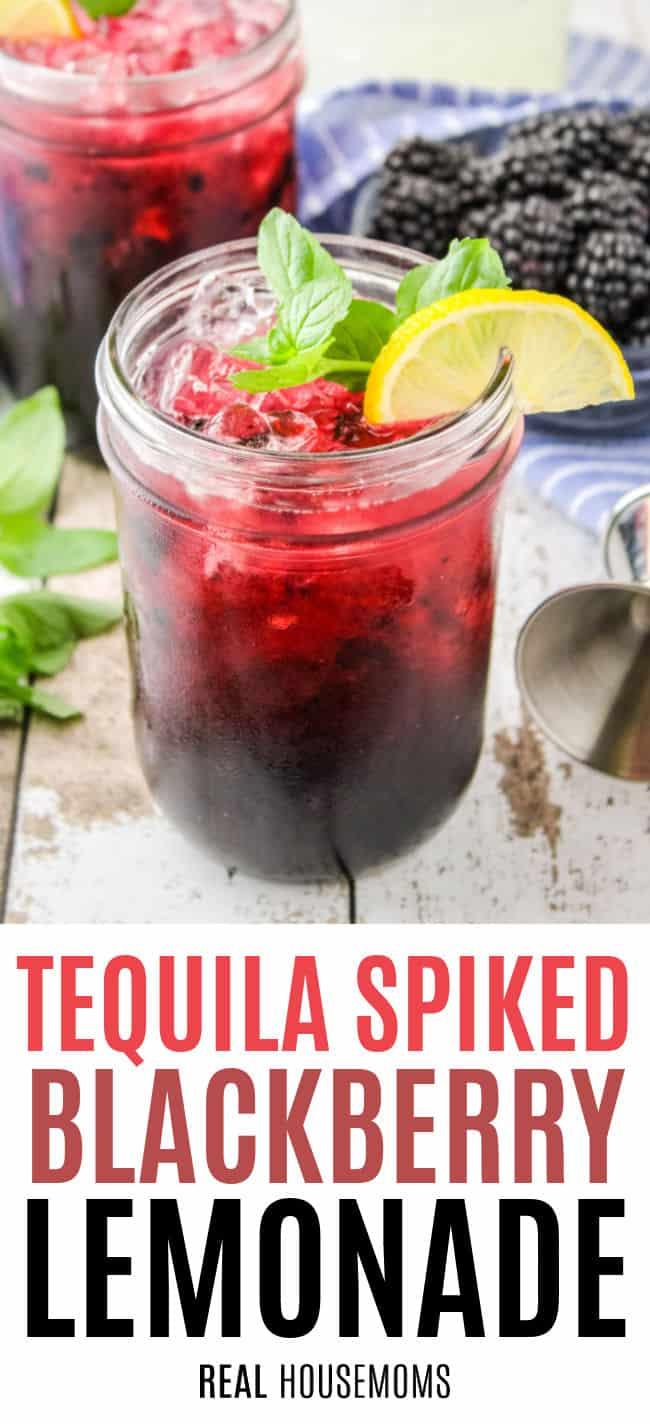 tequila blackberry elmonade in a mason jar with lemon and mint