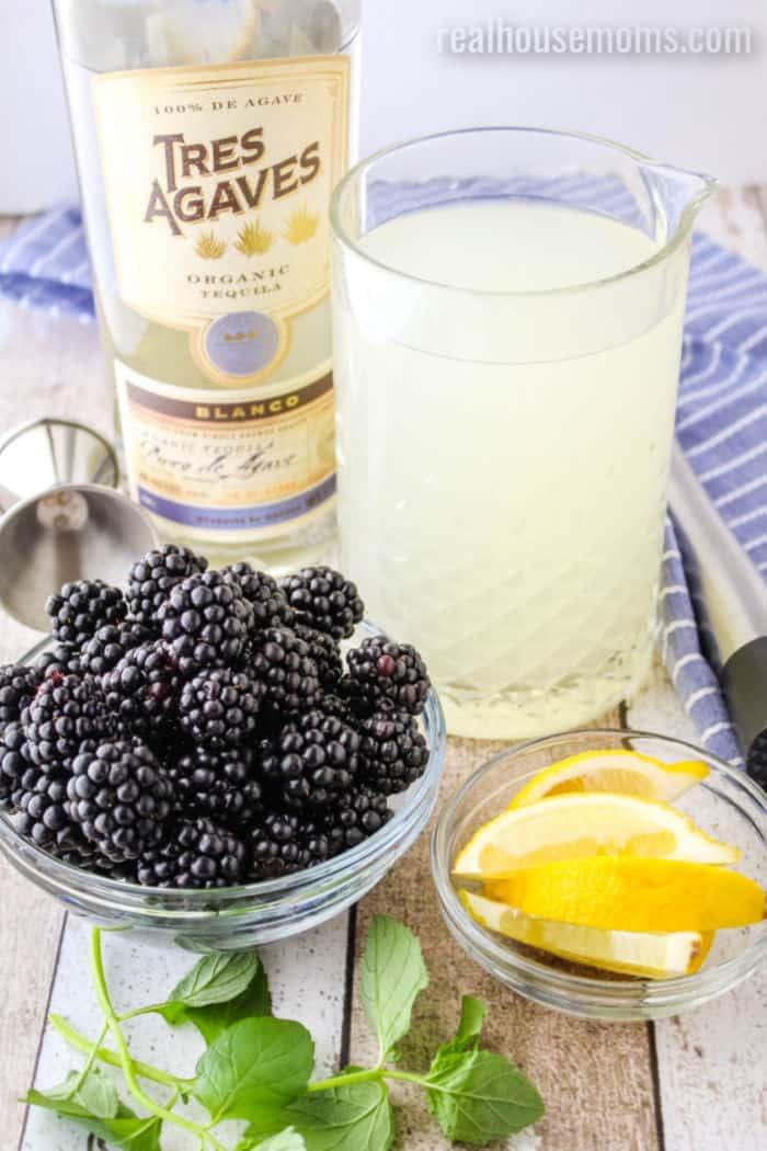ingredients to make tequila blackberry lemonade