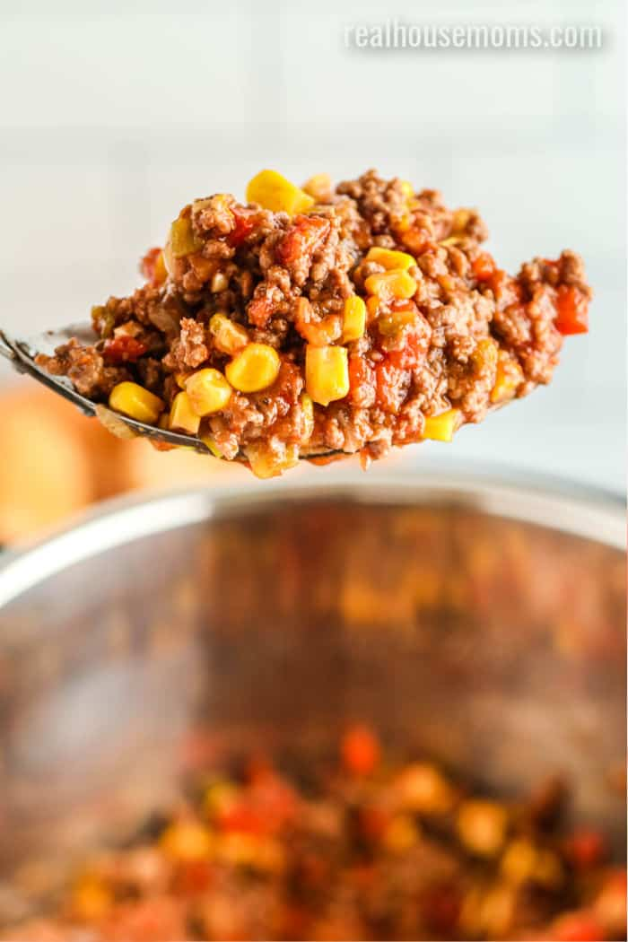 spoonful of sloppy joe over an instant pot