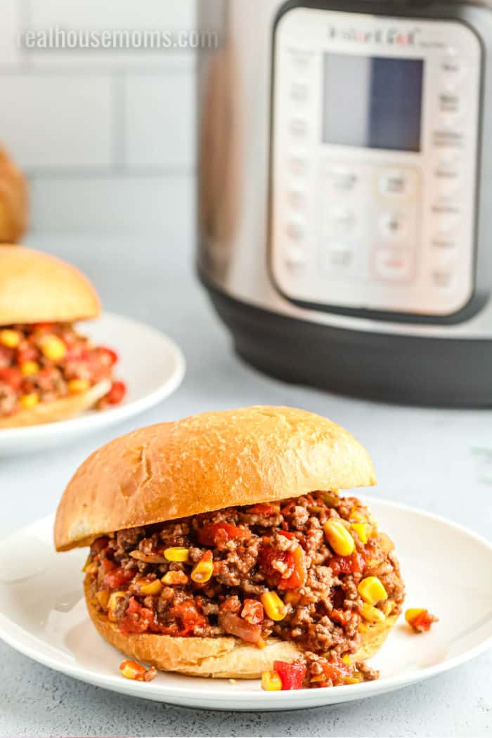 tex mex sloppy joe on a plate next to an instant pot