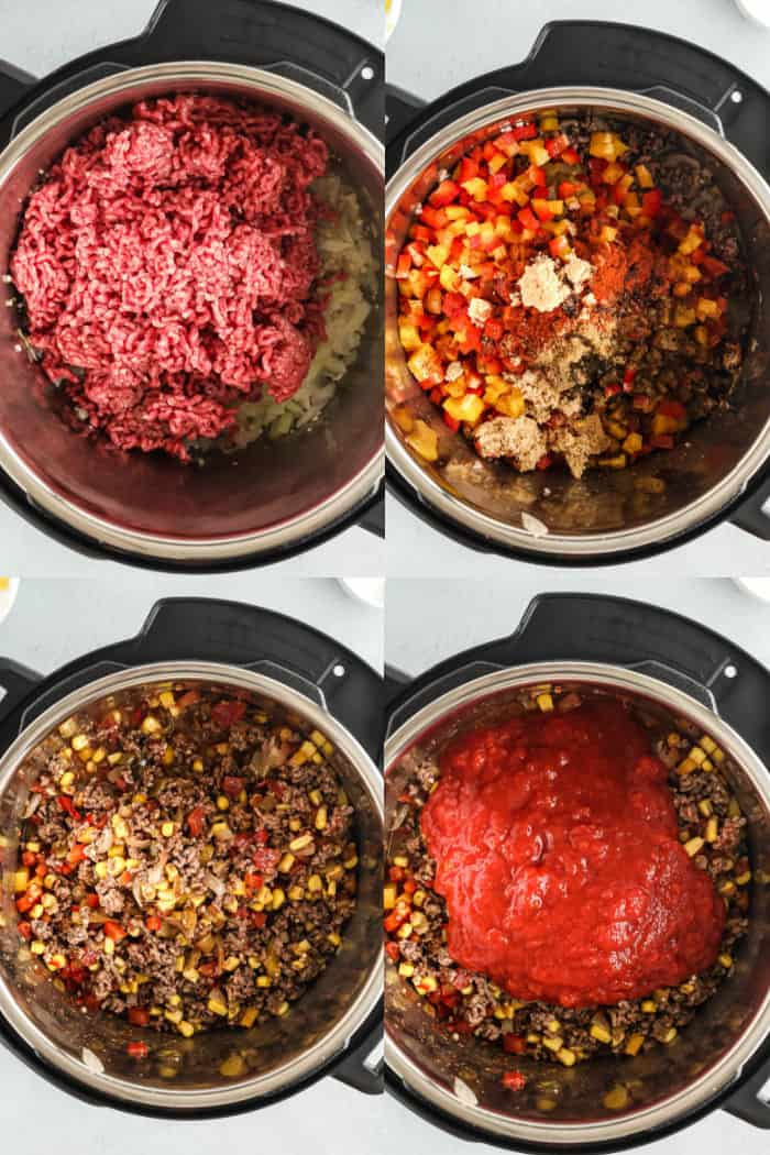 ground beef in an instant pot, cooked ground beef wtih veggies and seasoning in instant pot vessel, everything stirried together, tomato sauce poured into instant pot with other ingredients