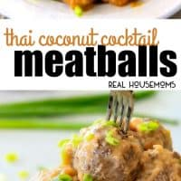 Tender & juicy Thai Coconut Cocktail Meatballs are simmered in the most tantalizing creamy, tangy coconut chili sauce that everyone will go crazy for!  Perfect make ahead appetizer for stress-free entertaining!