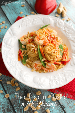 Thai Peanut Pasta with Shrimp by DelightfulEMade.com