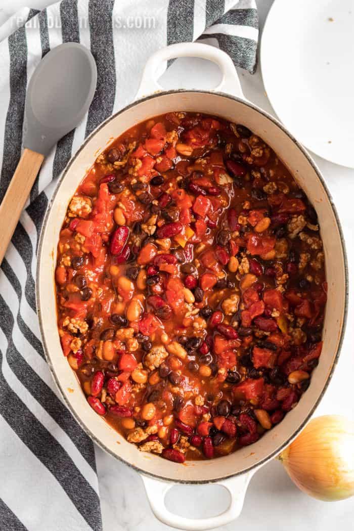 three bean turkey chili in a pot