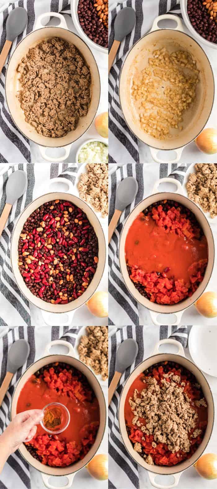 steps to make turkey chili