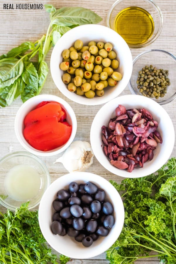 ingredients to make three olive tapenade
