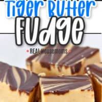 tiger butter fudge from two angles top down and side view of stack