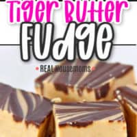 close up of fudge on top and side view of peanut butter fudge
