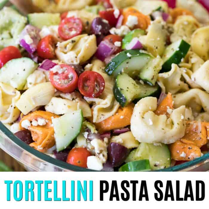 square image of tortellini pasta salad with text