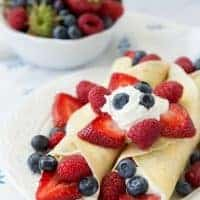 TRIPLE BERRY CREPES are a breeze to make and look so elegant!