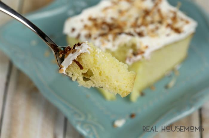 This TROPICAL POKE CAKE is a light and easy dessert that's delicious any time of year!