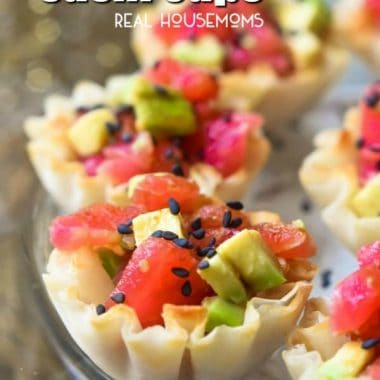 These tasty Tuna Avocado Sushi Cups are an easy appetizer with all the flavors of your favorite sushi roll!
