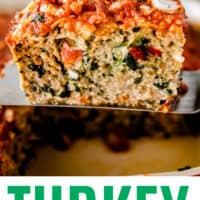 slice of turkey meatloaf on a spatula above the pan with recipe name at bottom
