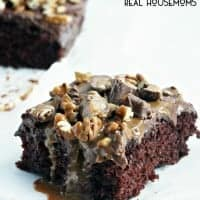 This TURTLE POKE CAKE is a rich chocolate cake soaked in caramel sauce, and covered in chocolate frosting, pecans & more caramel!