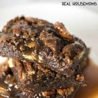 Ultimate Turtle Brownies fudgy brownies with 2 kinds of caramel sauce and pecans! This is the ultimate and it's such an easy dessert recipe!
