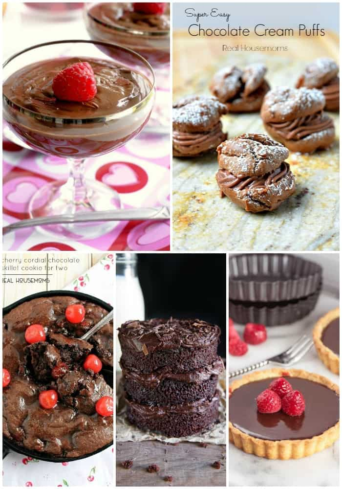 collage of chocolate Valentine's Day Dessert Recipes