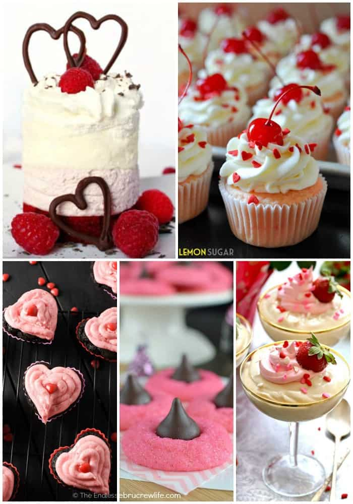 collage of pink and red Valentine's Day Dessert Recipes