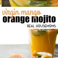 This Virgin Mango Orange Mojito is a twist on the traditional cocktail that's alcohol-free, but you could definitely add rum! It is delicious, easy to make, and so refreshing!