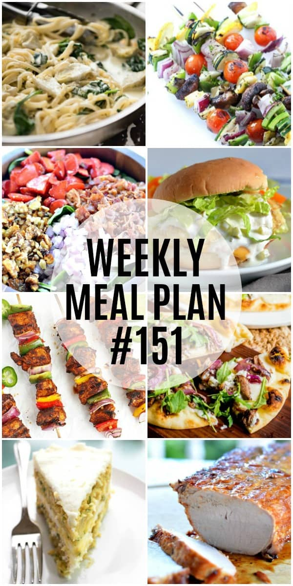 Summer is in full swing here and I'm loving the warmer weather! This week's meal plan recipes are great for grilling or lighter dinners during the week!