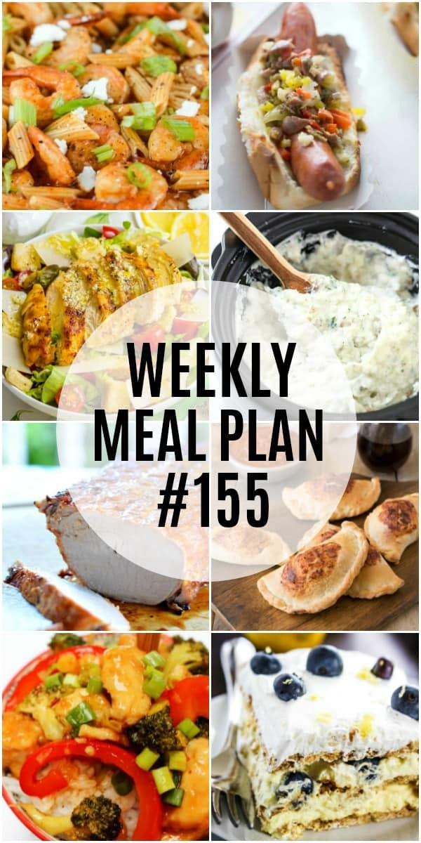 weekly meal plan 155 recipes vertical collage