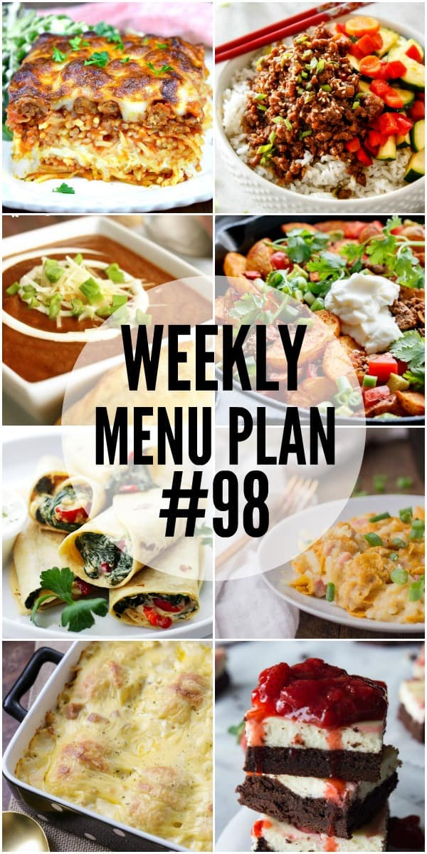 WEEKLY MENU PLAN (#98) - Seven talented bloggers bringing you a full week of recipes including dinner, sides dishes, and desserts!