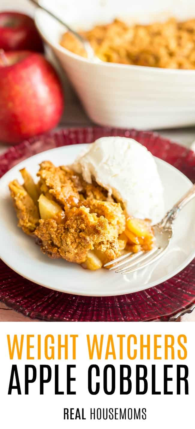 Weight Watchers Apple Cobbler served on a dessert plate & topped with ice cream