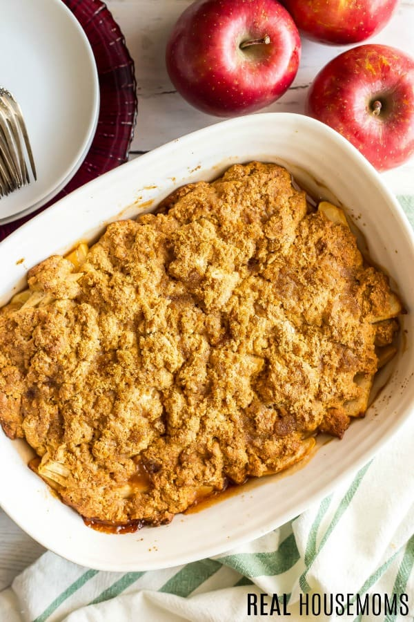 Weight Watchers Apple Cobbler with a golden crust, just out of the oven