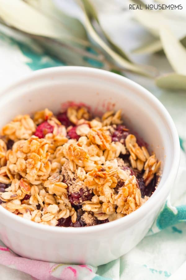 Weight Watchers Berry Crisp in a ramekin ready to be baked
