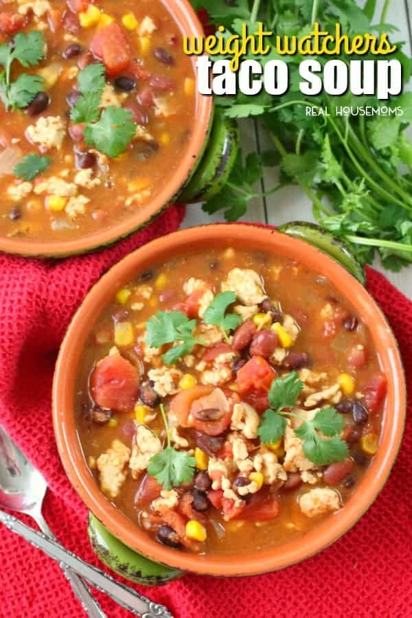 Weight Watchers Taco Soup served in soup bowl and garnish with cilantro