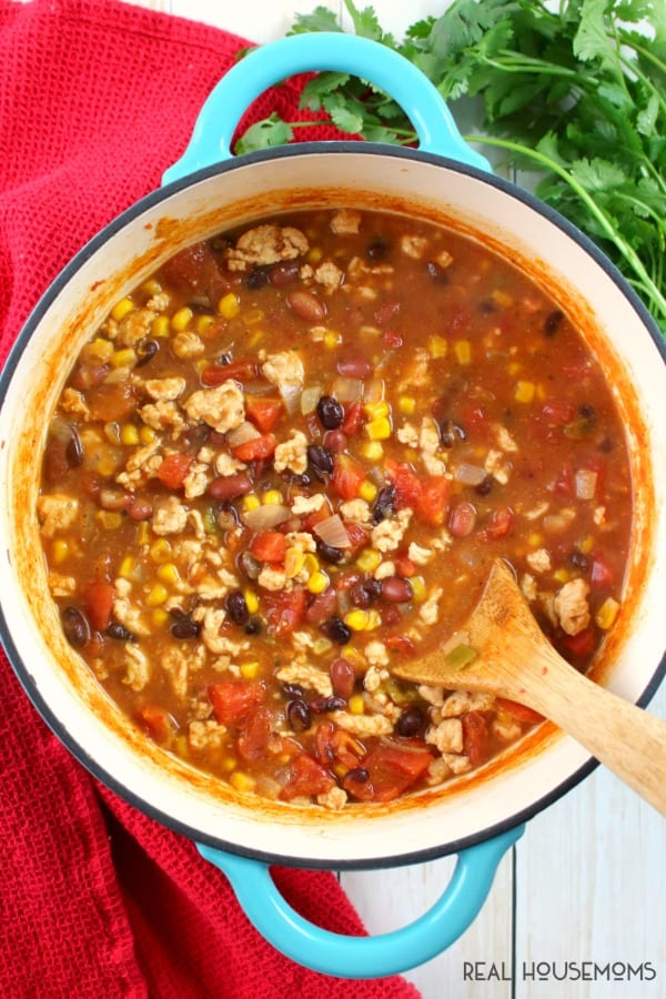 Large pot of Weight Watchers Taco Soup just off the stove and ready to be served